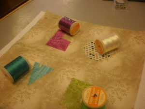 Choose threads to suit your chosen fabrics. I have used Rayon Machine Embroidery threads because I like the shine.